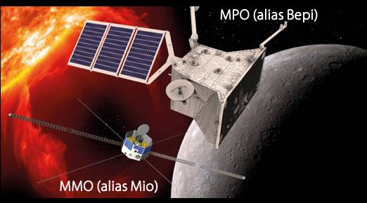 Figure 2 Vue d'artiste des sondes MMO et MPO de la mission BepiColombo à l'approche de Mercure. Crédit : ESA